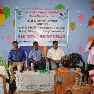 Launching of Project IND 69785 LVI E (41). L- R. Arul Resource Person, Isaac Project Coordinator , Rev.Fr.Lourdu Xavier, Arockiadoss DKSHA Secretary.